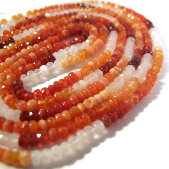Fire Opal Beads, Natural Gemstones for Making Jewelry, Shaded Mexican Fire Opal Rondelles, 7.5 Inch Strand, 2.5mm - 3mm (R-Fo1)