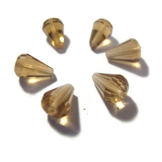 Six Beer Quartz Beads, Set of 6 Natural Gemstone Faceted High Quality Drops, 8mm x 5mm - 9mm x 5mm, Jewelry Supplies (S-Bq4)