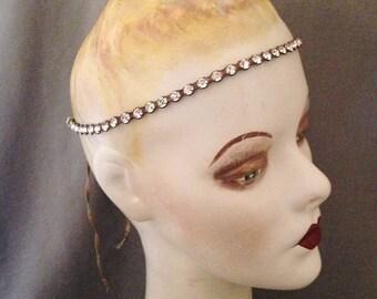 Edwardian, Teens, 1920s Gatsby Large Paste, Rhinestone,  Metallic Lame Thread,  Headband, Headache Band, Headpiece, Bridal