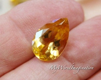 Faceted Genuine Citrine Tear Drops, Tear Drop Citrine, Genuine Citrine, Jewelry Supply, November Birthstone, Faceted No Hole Gemstone