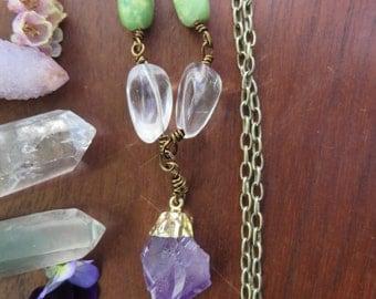 Amethyst Crystal Pointed Pendant Necklace - Gold Brass Long Chain -  Chrysoprase Clear Quartz - Healing Gemstone - Bohemian - Boho Festival
