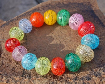 Summertime Bubbles....15 Hollow Filigrana Lampwork Beads...K O Lampwork