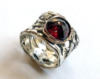 Silver engagement ring, garnet ring, boho ring, wide silver ring, unique engagement ring for her, two tone ring, gypsy - Endless love R2153