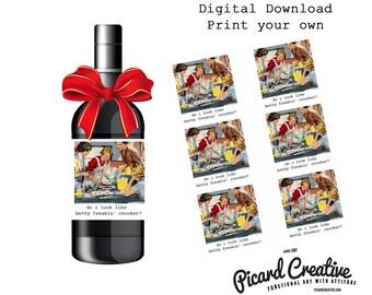 Funny Betty Crocker Wine Labels/Bakery Box Stickers . DIGITAL DOWNLOAD Set of 6 Vintage image Labels  Do I look like Betty Freakin' Crocker?