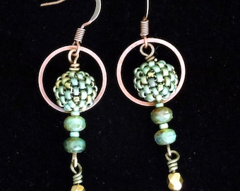 Seed Earrings, Beaded Hoop Earrings,  Beaded Bead Earrings,