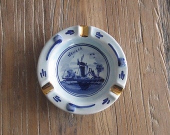 Souvenir Delfts Holland Ashtray with Gilding and Windmill