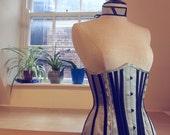 On Sale! Tightlacing underbust corset in jade green silk and black satin with matching choker. 23 waist dita victorian neck corset