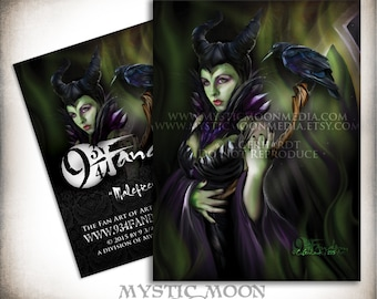 Mistress of Evil... ACEO / ATC... Maleficent Inspired Collectors Card.. Inspired by Disney's Sleeping Beauty... with her crow