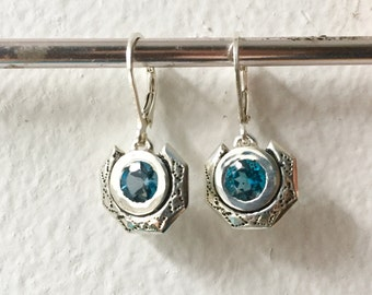 Eclipse Earrings in London Blue Topaz and Sterling Silver