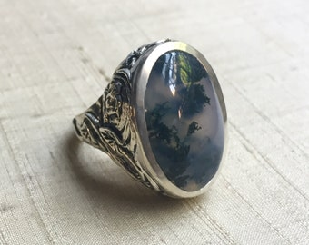 Moss Agate and Sterling Silver- Serpentine Leaf Ring