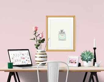 Miss Dior Cherie Leau Perfume Fashion Illustration Art Poster