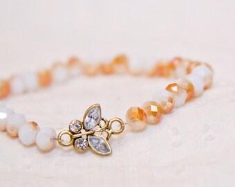 Butterfly charm bracelet, butterfly bracelet, gift for mom, gift for her, stack bracelet, butterfly charm jewelry, elegant bracelet, stuffer