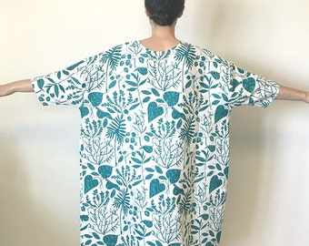 Teal Green Plant Print Linen Dress