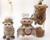 Sculpey bulk buy / Heavily discounted items 1. sheep 2. Photo holder 3. Jar vase | OOAK | Gift | Sale prices