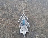 Leather Leaf Necklace - Winter Oak with Aqua Aura Quartz And Sterling Chain