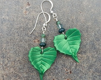 Birch Leaf Leather Earrings with Sterling Silver and Semiprecious Stones