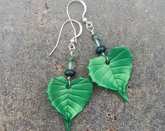 Green Birch Leather Leaf Earrings with Sterling Silver and Semiprecious Stones - Birch Leaves with Moss Agate, Flourite and Raw Emerald