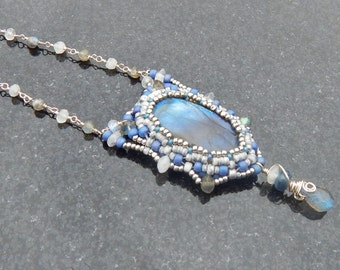 Labradorite and Kyanite Beaded Necklace with Sterling Silver and Moonstone - Adjustable Beadwoven  Pendant in Silvery White and Pale Blue