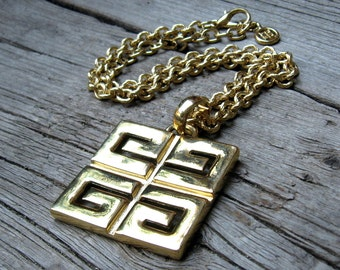 Givenchy Necklace 70s Designer Jewelry Vintage Gold Logo Geometric Necklace