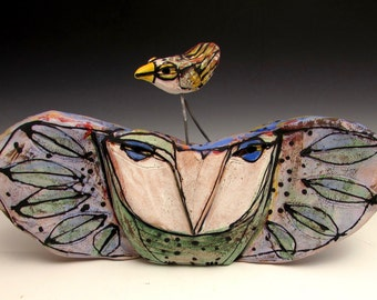 """Owl, handmade one of a kind art,""""Owl Person and Dancing Bird Celebrating Spring."""" 8-1/2"""" wide"""