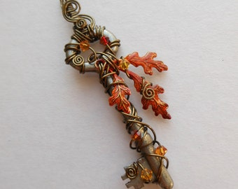Autumn Oak Leaves Wire Wrapped Key Pendant -- Fire Red-Orange Leaves, Antique Brass Wire, Antique Key, Swarovski Crystals