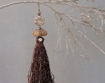 Brown Sea Urchin Ornament Bling and Tassel - Brown and Silver