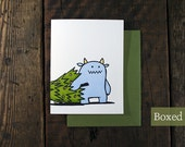 Letterpress Monster Duo with Christmas Tree Cards - Boxed Sets