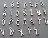 Add An Intitial Charm To Customize Any Bracelet, Necklace, Keychain, Antique Silver Letter, Alphabet Letter, Letter Charm, Alphabet Charm