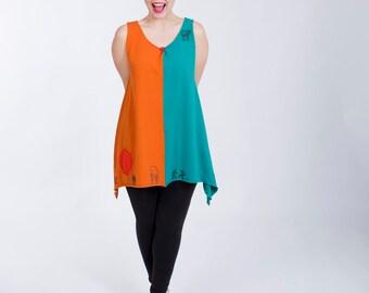 SALE! Colorblock Pique Cotton Knit Dress- 2 sizes, colors, wearable art, modern, contemporary fun colorful bright knit tunic mini dress