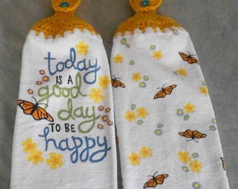 Crocheted Top Butterfly and Flowers Kitchen Towel Set - Butterfly Handle Top Towels -  Butterfly Hanging Towel Set - Butterfly Towels