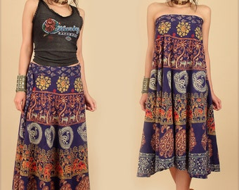 ViNtAgE 70s Indian Cotton Maxi Wrap Skirt // India Block Print Birds // Bias Cut Hippie Bohemian Floral Festival Dress // Small / Medium S M