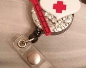 Nurse Retractable Rhinestone Badge Holder