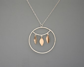 Modern necklace mixed metal in 14k gold filled and sterling silver, Rachel Wilder Handmade Jewelry
