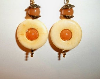 Bone Dangle Earrings with Carved Bone Circles, Amber & Copper Bead Accents