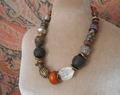 4 Directions necklace, global beads, artisan beads, tribal neutral colors