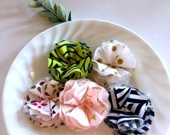 fabric scrap flowers, fabric flower embellishments, fall fabric scrapbook flowers, fabric flower supply, fluffy fabric scrapbook flowers