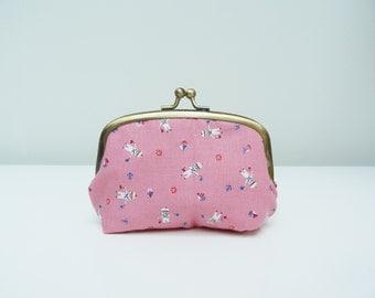 Coin purse, pink sailor design, cotton purse