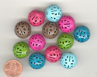 12 - 18mm Enameled Filigree Metal Bead Balls No.267A