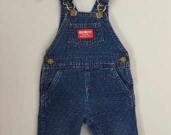 80s Primary Color Embroidered Blue Jean Overalls Size 9-12 months