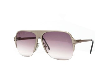 Lamborghini - 1980s half rimmed metal oversized vintage sunglasses in NOS condition made in Italy