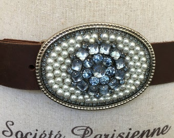 Smoky blue belt buckle with pearls handmade