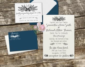 Vintage Boho Wedding invitation set, clear block stamp for DIY wedding invitations --13016-MULT-000