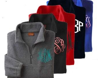 Monogrammed Fleece Pullover-Half-zip pullover jacket-Flash Sale!!