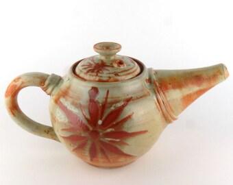 Stoneware Teapot - 32 oz. - Sage Green Teapot with Sunburst - Individual Teapot - Pottery teapot - Ceramic teapot