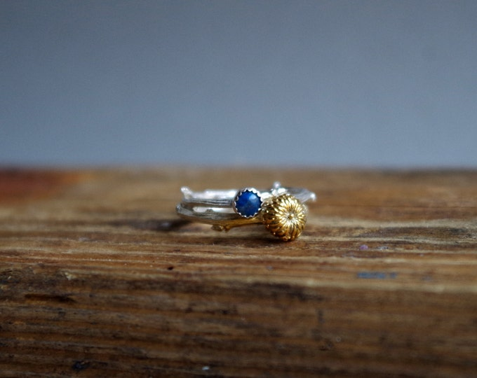 December Birthstone Lapis Lazuli Ring Botanical Ring Set Twig Jewelry Gifts for her Stack Rings Under 75