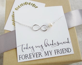 Bridesmaid infinity necklace, freshwater pearl necklace, bridesmaid necklace, thank you message card, forever my friend, BFF bridesmaid gift