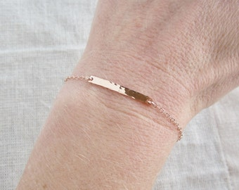 Hammered bar bracelet, Thin ROSE gold bracelet, stacking bracelet, rose gold filled, layering bracelet, delicate, simple bracelet, everyday