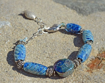 All the Fishes - Unique blue lampwork beads with Sterling Silver bracelet - blue bracelet
