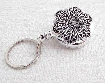 Silver Filigree Key Ring on Badge Reel, Key Chain