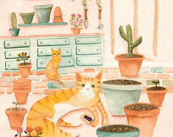 CAT Art Cactus Cats in the Potting Room Original Cat Folk Art Watercolor Painting